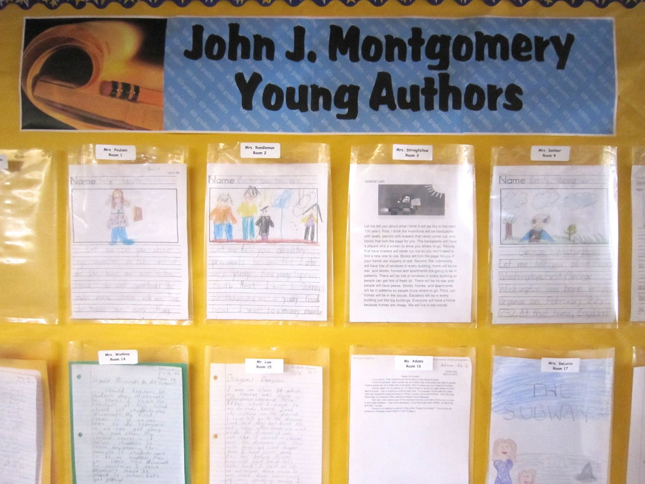 Wall display of Young Authors works