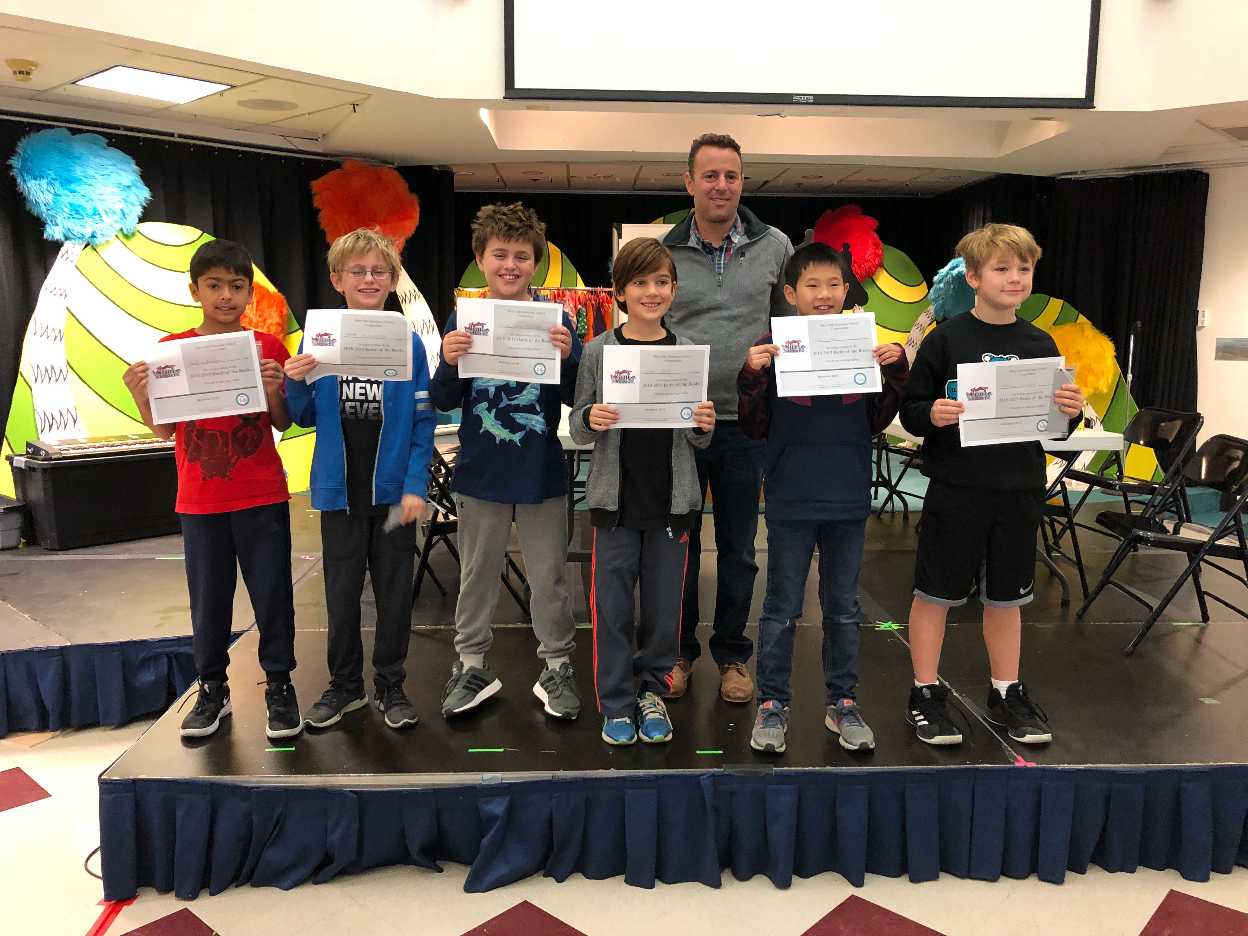 3/4 grade winners with Principal Howard Greenfield